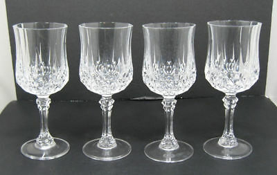 "Lot/4 Cristal D' Arques Crystal ""Longchamp"" Water Goblets Glasses 7 1/4"" France"