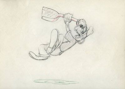 GOOFY w/SHOVEL Tugboat Mickey Mouse DISNEY ANIMATION PRODUCTION CEL DRAWING 1940