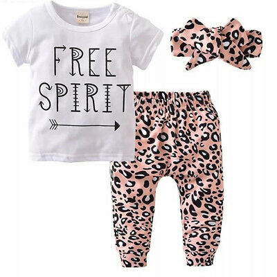 Toddler Baby Girls Leopard print Clothes Tops T Shirt Pants Tracksuit Outfits AU