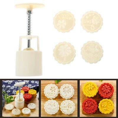 4 Flower Stamps Moon Cake Mould DIY Round Mooncake Mold Baking Decor Tool 63g