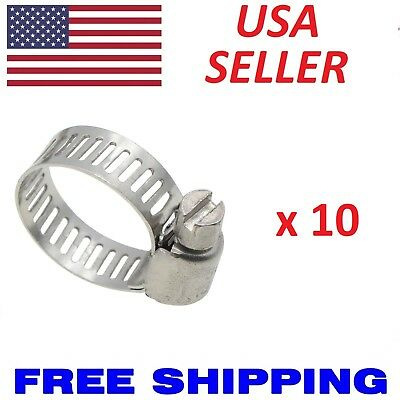 """10pcs Stainless Steel Metal Hose Clamps Adjustable Band Fit all 1/4"""" 5/8"""" 3/4"""""""