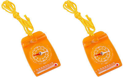 (Doppelpack) - AceCamp Mini Map Compass with Base Plate, for Kids, Scouts,