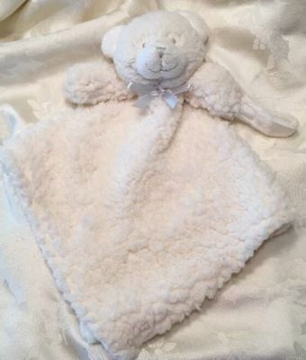 Blankets and Beyond WHITE Teddy Bear Baby Security Lovey Silver Gray Bow Binky