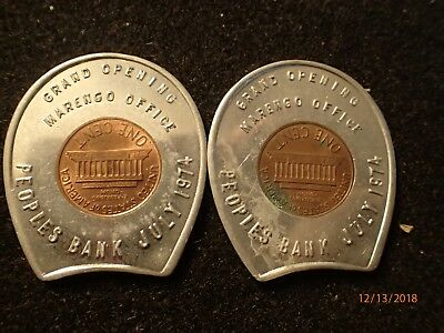 Two Encased 1974 Lucky Pennies, Grand Opening Peoples Bank Marengo, O