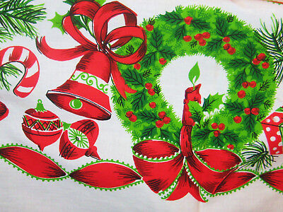 Vintage Tablecloth Christmas Theme, Bells Gifts Ornaments Pine Linen Cotton Look