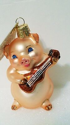 """""""Musical Pig"""" Old World Christmas Glass Ornament NWT and Box"""