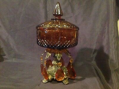Vintage Brass / Amber Coloured Glass Hanging Pendants Candy Dish With Lid