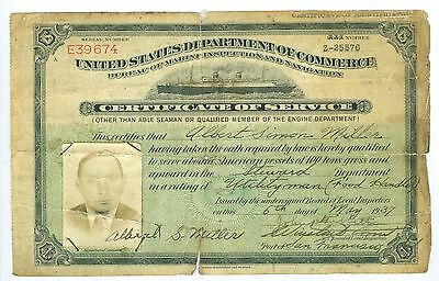 May 1937 US Marine Inspection & Navigation, Able Seaman Cert of Service on Ships