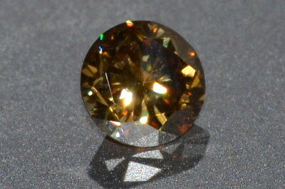 Gorgeous AAA 1.38cts VVS 7mm Golden Brown ROUND MOISSANITE Gemstone
