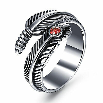 Fashion Woman Men's Silver Stainless Steel Feather Ring Band Jewelry Gift