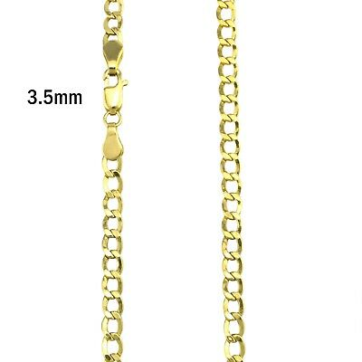 "3.5 MM 10K Real Yellow Gold Cuban Chain 16"" To 24""  Valentine's Day Gift"