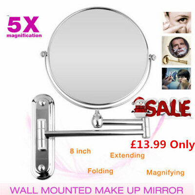 5X Extending Magnifying Wall Mounted Makeup Mirror Bathroom Shaving Round Xmas