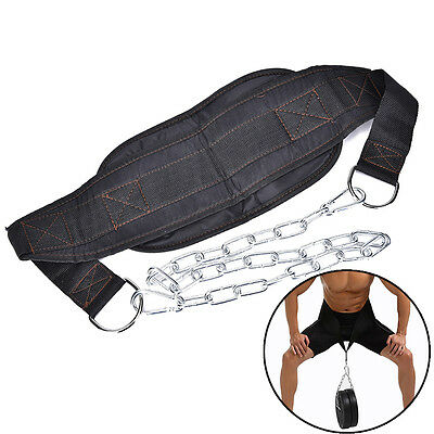 1X Dipping Belt Body Building Weight Lifting Dip Chain Exercise Gym Training、 Ub