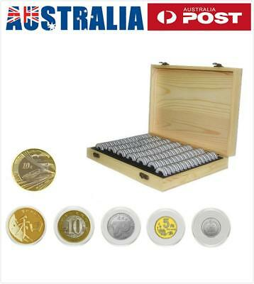 100X Coin Capsule Holder Wooden Container Storage Box Display Case 18/21/27/30MM