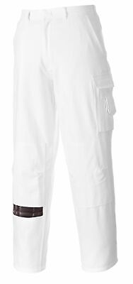 PORTWEST S817 white cotton painters trouser size XS-4XL regular or tall leg