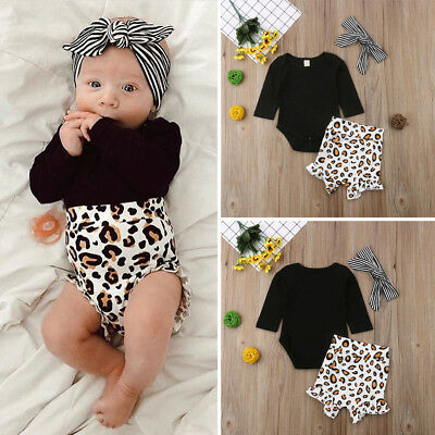 AU Newborn Baby Girls Leopard print Clothes Tops Romper Shorts Tracksuit Outfits