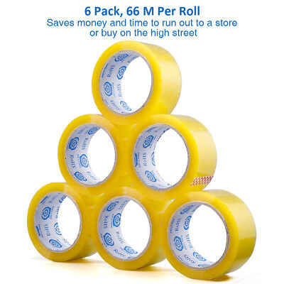 6 x LONG LENGTH TAPE STRONG CLEAR 48mmx66M ADHESIVE SEALING PACKING PARCEL TAPE