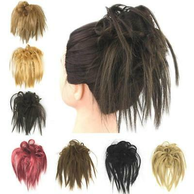 Womens Wrap Wig Extension Curly Hair Bun Scrunchie Ponytail Hairpiece Wigs Chic