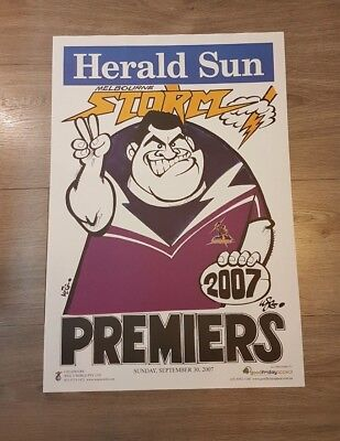 2007 Melbourne Storm Grand Final Premiers Premiership Weg Poster Signed By Weg