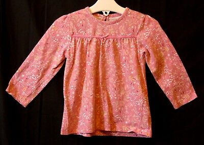 Baby Girls George Pink Ditsy Floral Long Sleeve Tunic Dress Age 9-12 Months
