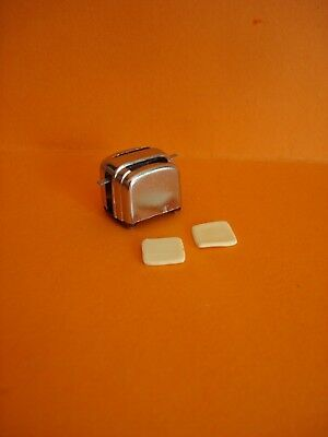 Vintage Dolls House Food - Pop Up Metal Toaster With Toast Slices - Lundby Scale