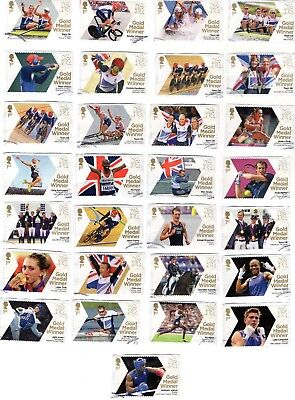 GB QE II  2012 Olympic Gold Medal Winners SG3342 - 3370 set of 29 Good used