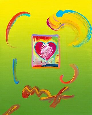 Peter Max, HEART original with Max certificate - in the style of Warhol