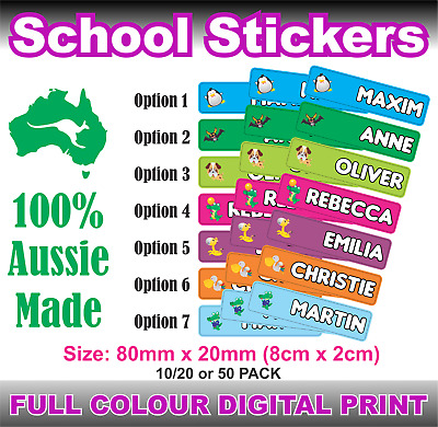 Personalised Kids Name Labels Custom Stickers Book Tags School Toys Laptop