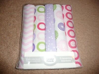 NEW NWT Luvable Friends Flannel Receiving Blankets Pink Pinwheel 5 Count