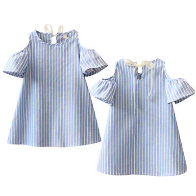 Flower Girls Kids Toddler Baby Princess Party Pageant Striped Dress Clothes GG
