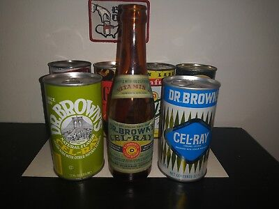 Vintage soda can dr browns cell ray set!& 1930-40s early dr brown bottle sweet!!