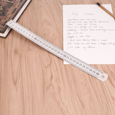 59E9 30cm 12 inches Stainless Steel Metal Straight Ruler Precision Scale Double