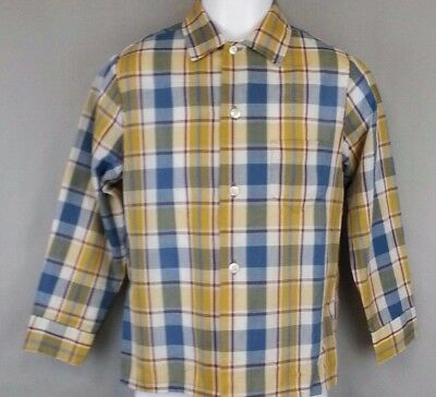 Original 70s 80s Vintage BOYS Sears Perma Prest Shirt Top Long Sleeve Size 6x
