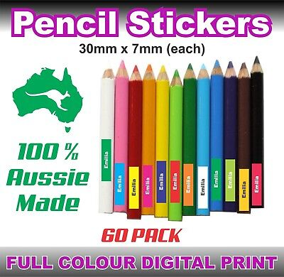 60 Pencil Sticker Child's Custom Printed Kids Name Labels Book School Pen Ruler
