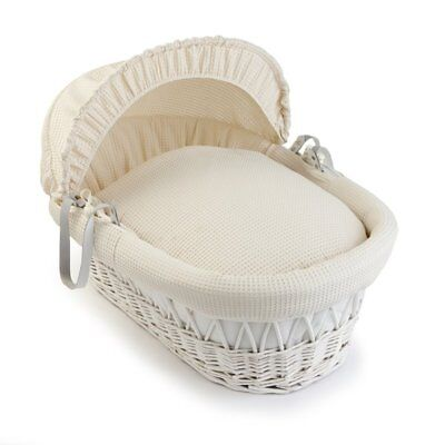 Clair De Lune Waffle Wicker Moses Basket - White and Cream