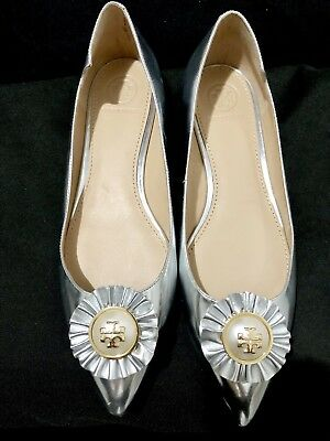 a9342f54c14 Tory Burch Brand-New Melody Silver Metallic Leather Point-Toe Flats Size 6.5
