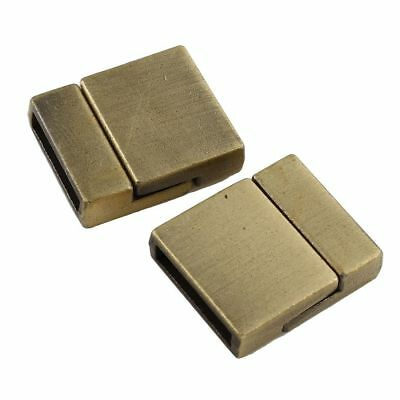 1pc Antique Bronze Tone Square Metal Leather Cord Ribbon Ending Magnetic Clasps