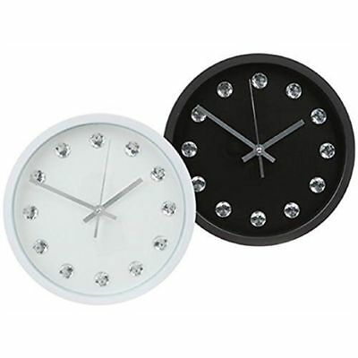 "Black 10"" Modern Bling Wall Clock Round Plastic Diamante Contemporary Kitchen"
