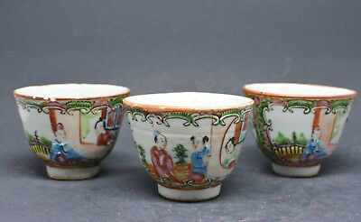 Antique Chinese Export Rose Medallion Tea Cups (Set of 3) ~ 2 inches tall ~