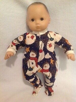 """Bitty Baby 15"""" doll Snowman Sleeper Pajamas pjs boy/girl winter outfit clothes"""