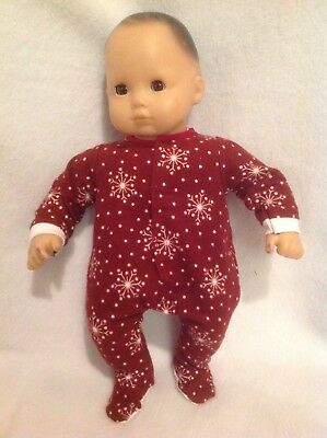 """Bitty Baby 15"""" doll burgundy Snowflakes Sleeper Pajamas pjs girl outfit clothes"""