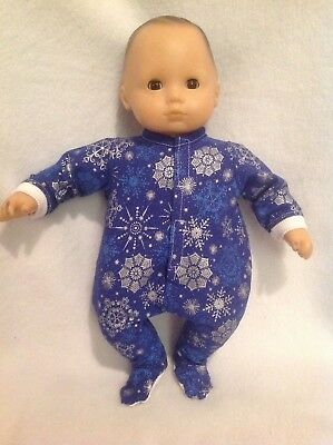 """Bitty Baby 15"""" doll Snowflakes Sleeper Pajamas pjs boy/girl twin outfit clothes"""