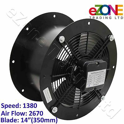 Industrial Duct Fan Cased Axial Commercial Kitchen Canopy Extractor 350mm