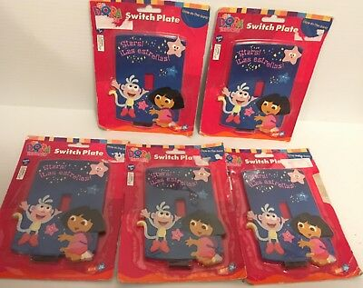 NEW Lot of 5 Dora the Explorer Light Switch Switch Plates - Glow in the Dark
