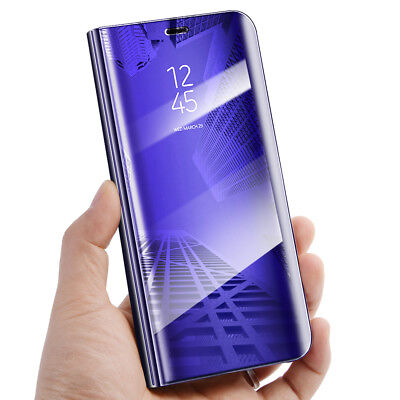Purple View Mirror Phone Case Flip Leather Stand Cover for Samsung Galaxy S9