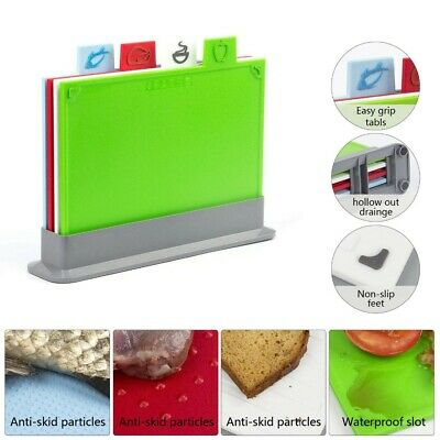 5pc Index Colour Coded Chopping Board Set 6mm Cutting Boards Mat Worktop & Stand