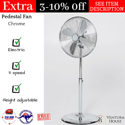 Adjustable Electric Fan 3 Speed Oscillating Industrial 40cm Chrome Pedestal -NEW