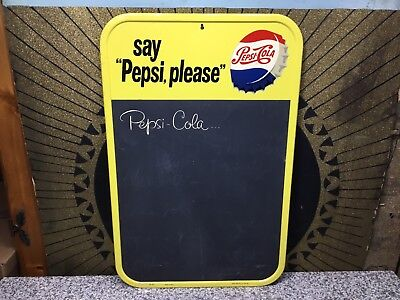 NICE Vintage PEPSI COLA Chalkboard Soda Advertising Tin Sign STOUT M-167