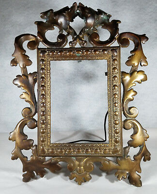 Antique Victorian Vintage Medium Size Solid Aged Bronze / Brass Picture Frame
