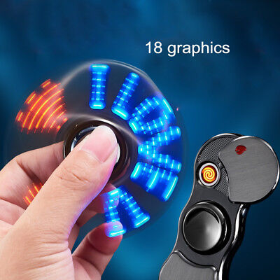 Cigarette Lighter Fidget Spinner Lighter LED Flashing Light USB Charging Tool